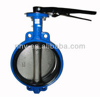10 inch hand lever operated cast iron wafer butterfly valve for cement