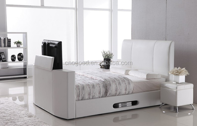 white king size leather PU TV <strong>bed</strong> #TB010