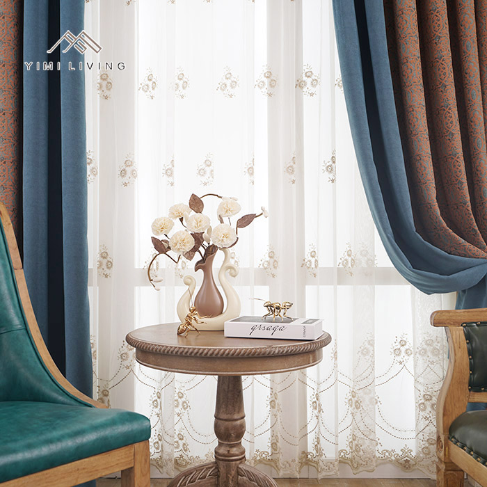 Various styles custom flower embroidery sheer drapes for wedding