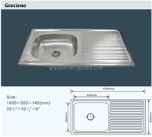 JNS825 Wholesale Kitchen Bathroom Toilet Stainless Steel Hand Wash Basin With Drainboard