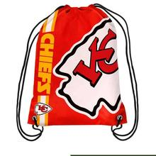 Custom Made Kansas City Chiefs Polyester Men Drawstring Backpack Bags Digital Printing Pouch 35*45CM Folding Pro Sports Fan bag