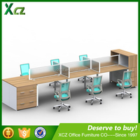 Simple wooden MFC side cabinet frameless glass office furniture for six people description made in china