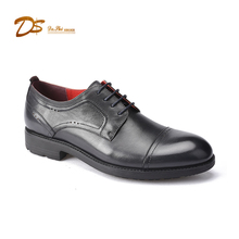 China shoe maker supply lace up cap toe calf leather men dress shoes