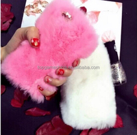 Rhinestone Bling Fluffy Rabbit Hair Phone Hard PC Case For iPhone&Samsung Fur Cover