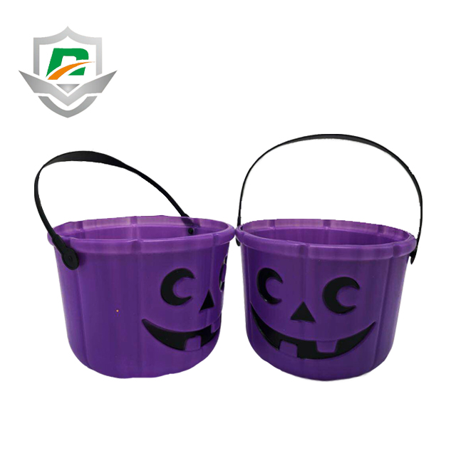2018 new purple halloween candy barrel trick or treat bucket with handles
