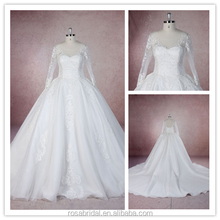 Mother of The Bride Ball Gown Long Sleeve A-Line Applique Lace Chapel Train Wedding Dress xy-150108d-2