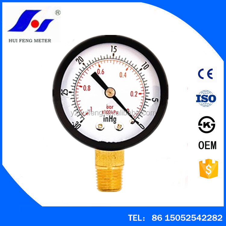 2.5inch Black Iron Case -30inHg-0 -1bar-0 Hydraulic High Quality Air Pressure Gauge