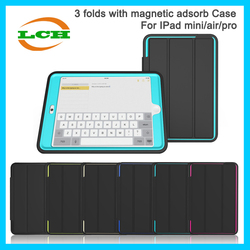 Factory sale shockproof childs proof 3 folds flip case with magnetic adsorb for Ipad air 2 / ipad 6