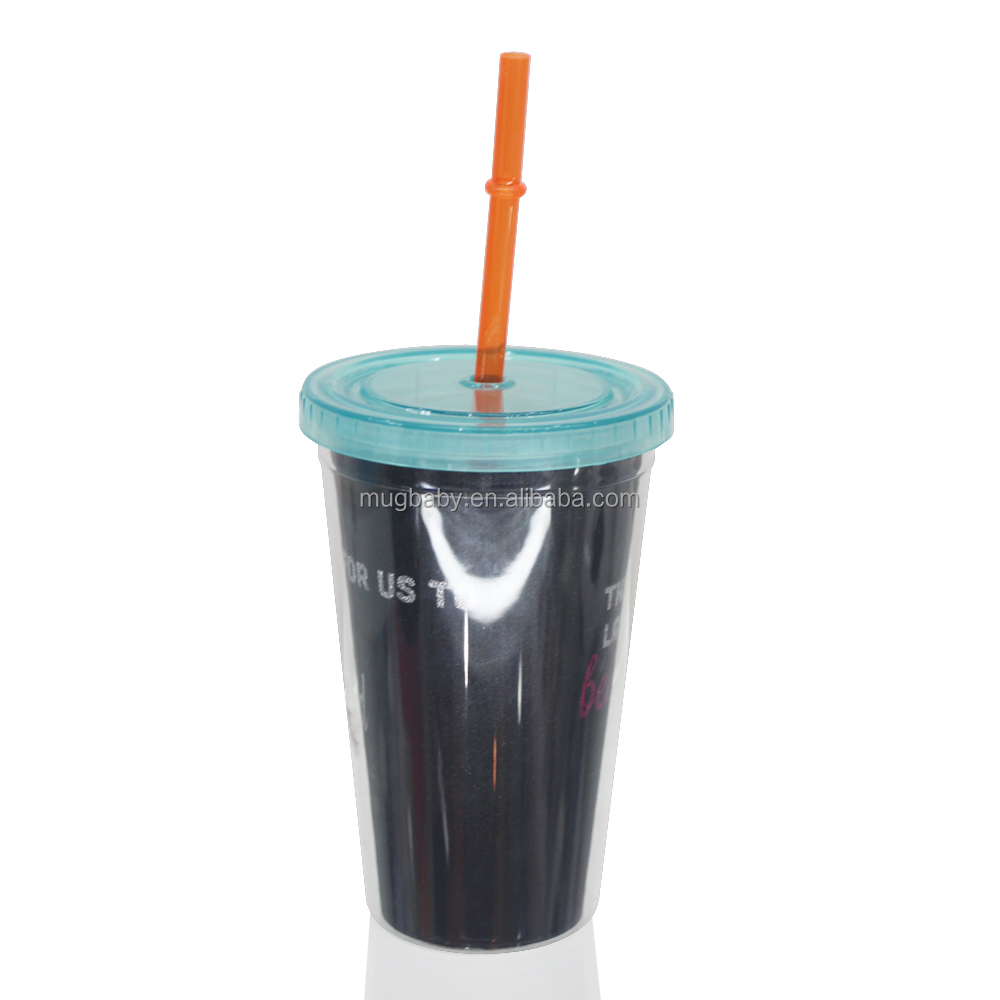 BPA free double wall plastic drinking tumbler with straw