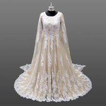 Luxury Champagne Lace Appliqued Wedding Dresses Muslim With Long Cape in Dubai