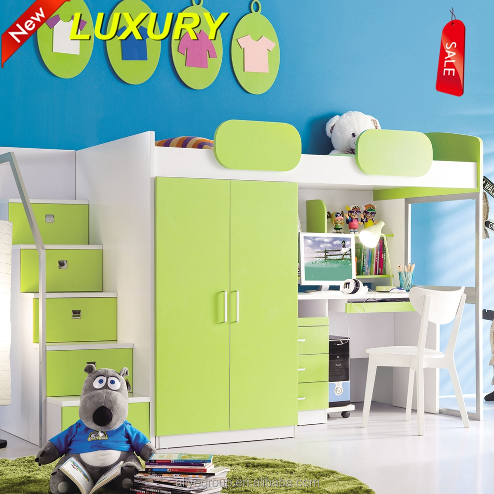 H-01-foshan furniture for kids bed with study table