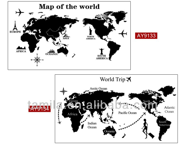 Removable Travel World Map Sticker