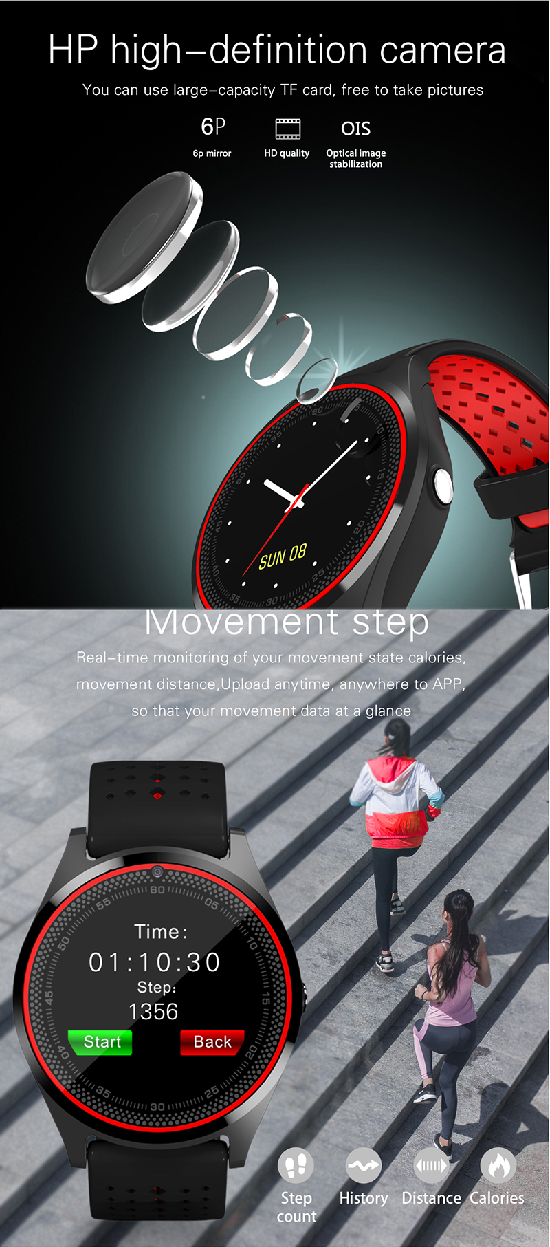 V9 Smart Watch Heart Rate Monitor Camera SIM Card Pedometer Men Women Sport Smart watch V9h for Android IOS Phone