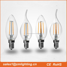 2016 Factory direct selling UL CE RoHs 2W 3W 4W C35 candle E27 E14 E12 led filament bulb