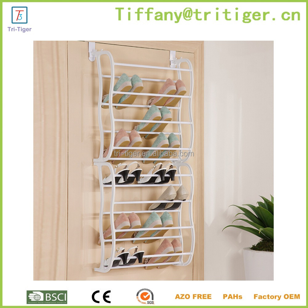 36 Pair Over Door Hanging Shoe Rack 12 Tier Shelf Organiser Storage Stand wrought iron shoe rack