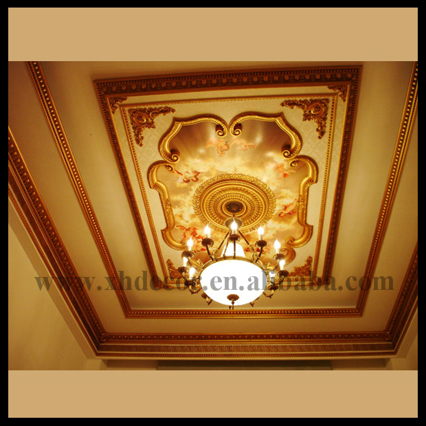 Rectangle Gold Image Sky And Angel Home Ceiling Designs