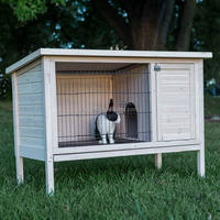 outdoor white wooden rabbit hutch
