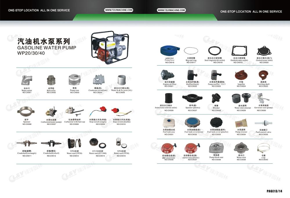 Good sell spare parts/accessories/Fittings for Agriculture Irrigation honda gasoline water pump