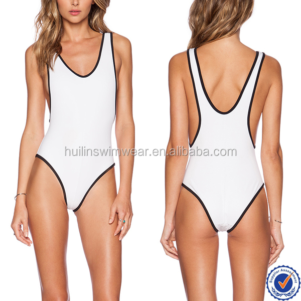 2016 summer new sexy high cut women wholesale contrast fabric one piece swimsuit