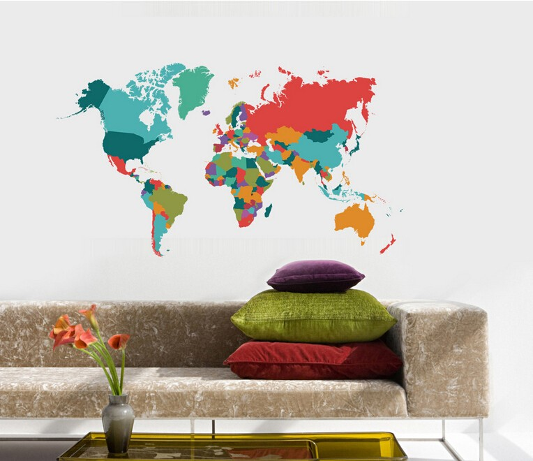 MT1042 High Precision Digital Printing CPSIA Eco-friendly Removable World Map Wall Sticker