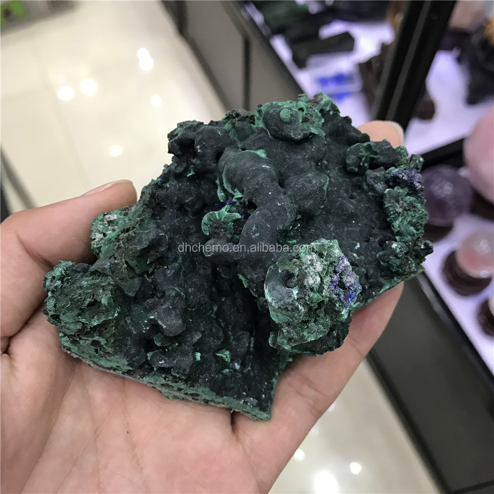 WHOLESALE ! ELECTRIC BLUE AZURITE CLUSTER ON MALACHITE FROM GUANGXI PROV CHINA
