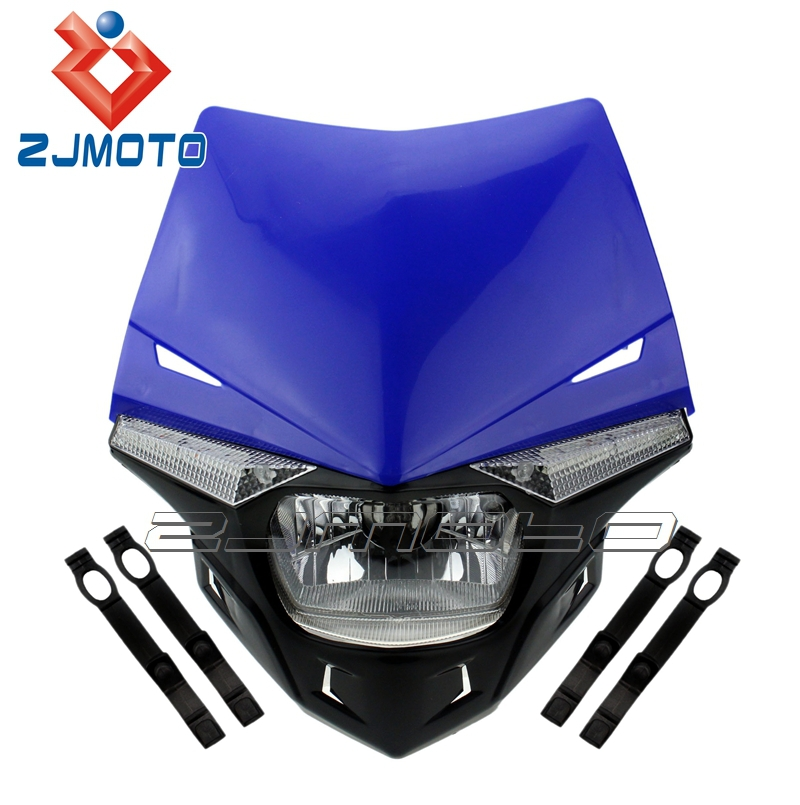 ZJMOTO H4 12V, 35/35W Universal LED Motorcross MX ENDURO Dirt Trail Bike 250cc Head Lamp Headlight For Motorcycle