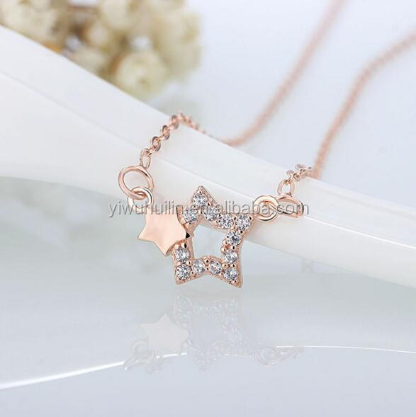 YFY118 Yiwu Huilin Jewelry Wholesale fancy design gold silver double star pendant necklace jewelries