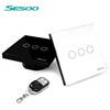 EU/UK Standard SESOO 3 Gang 1 Way,Fashion Europe style wifi remote wall switch for modern family