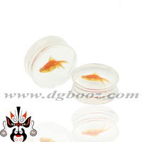Wholesale acrylic transparent goldfish pattern ear plugs piercing body jewelry saddle tunnels AE-15010