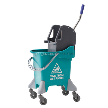 High quality plastic mop wringer bucket with stanless steel handle