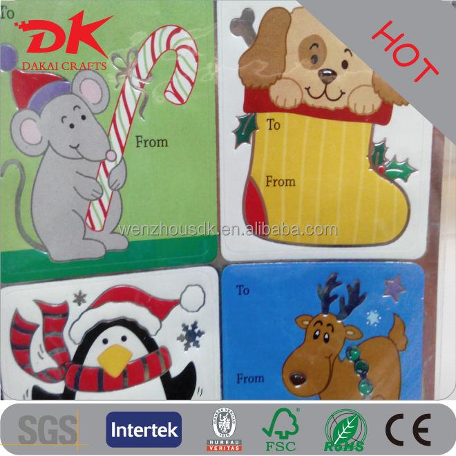 Custom peel off self adhesive foil sticker gift tag with christmas dog