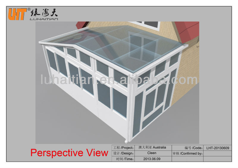 Modern style PVC glass sunroom aluminum glass sunroom with tempered double glass at cheap price