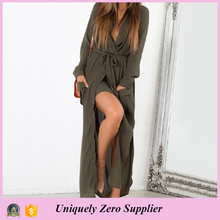 2016 New Design Fancy Loose Long Sleeve split Maxi Sleeping Dress With Belt