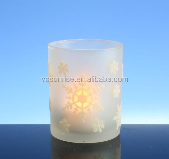 2017 Decorative frosted white glass Tlight candle cup with snowflake