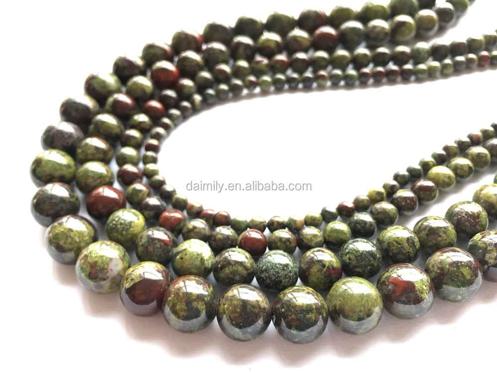Natural Dragon Blood Jasper Round Gemstone Bead Semiprecious Stone Jewelry