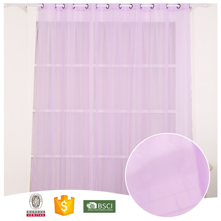 2017 Good Look Yarn Dyed 100% Polyester Purple Sheer Curtain