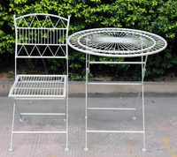 New arrival french style iron foldable table set of 3 new style dining table set