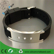 China manufacture negative ion silicone bracelet with stainless steel,5 magnetic stone, silicone energy bracele