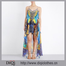 Camilla Silk Chiffon Scoop Neck Spaghetti Straps All-Over African Printed Front Short Boho Dress