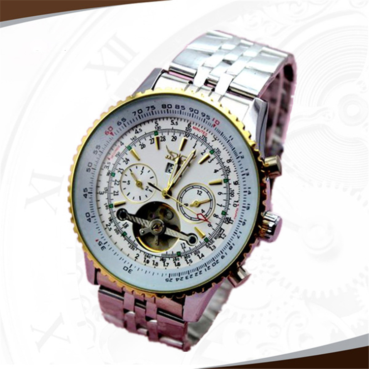 Brand Mechanical Wrist Watches Men Date Week 6 Hands Tourbillon Skeleton Design Stainless Steel Luxury Automatic Jaragar Watch