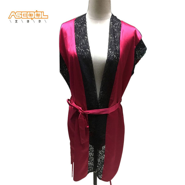 Economic short sleeve elegant chiffon stain sleepwear pajamas women with nice lace