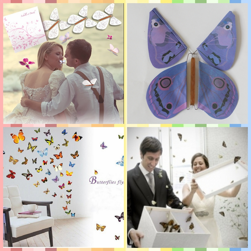 promotion special designs magic flying butterfly for weddings decorative can customized
