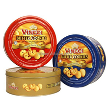 Wholesale D130xH60mm food grade round cookie tin