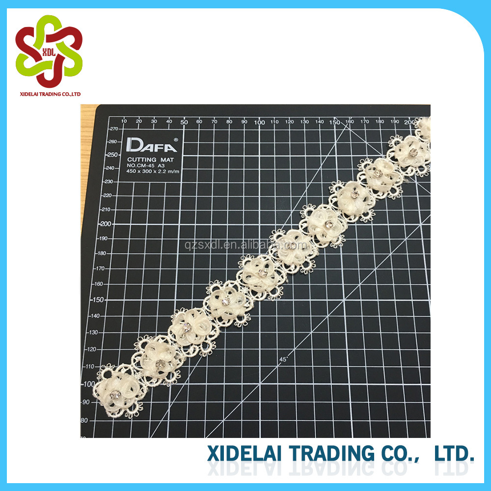 Best Selling Rhinestones Organza Decoration Beaded Lace Trim