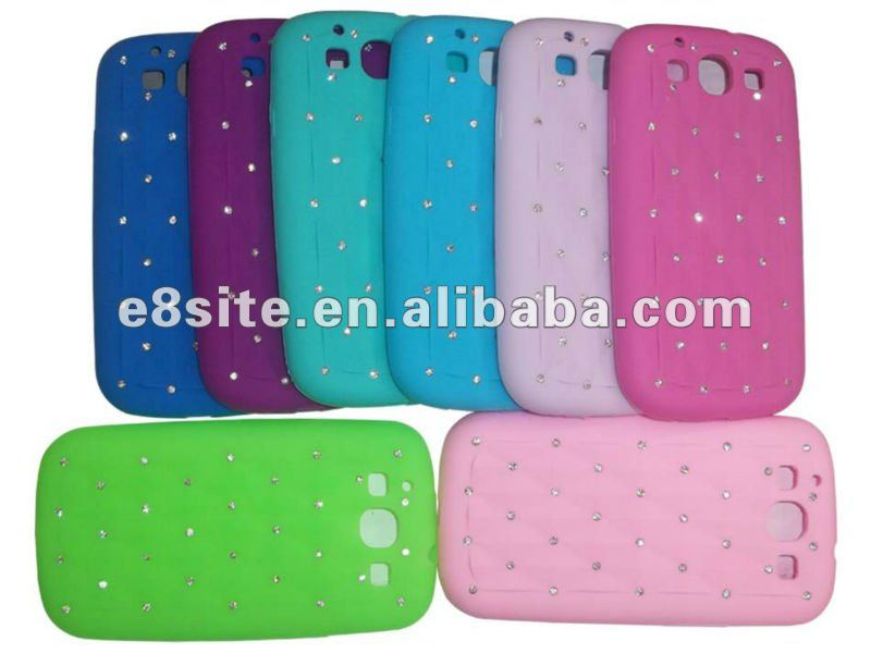 3D Diamond Bling Silicone Phone Case For SamSung i9300 Galaxy S3