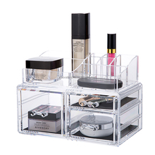 Amazon top seller 2018 jewelry organizers cosmetic display box clear cube acrylic makeup organizer with drawer