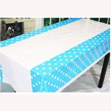 Factory Sale 132x220cm Pe Coated Blue Polka Dots Cheap Plastic Tablecloth