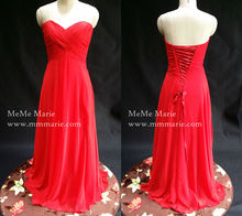 Red Elegant Strapless A-line bridesmaid dress Open Back floor length Chiffon Lace up Evening Dress