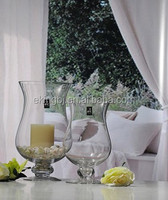 Glass hurricane candle holder with vase HR118
