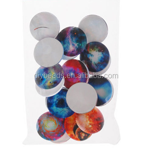 Flat fashion round lucency glass cabochon with star pattern